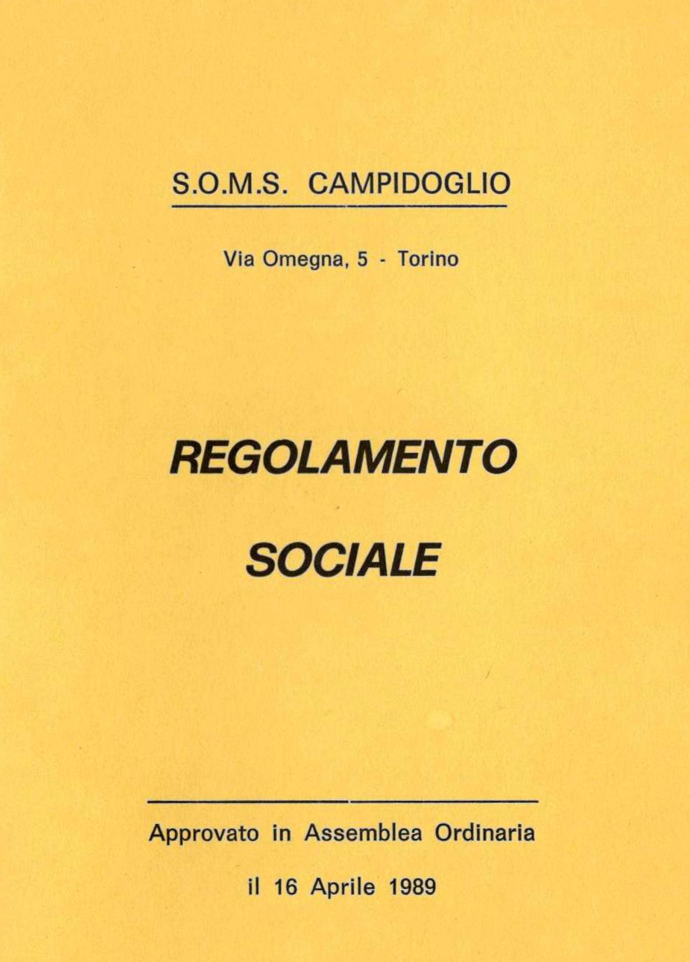 Regolamento sociale SOMS Campidoglio